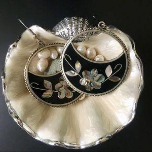 Mexico Alpaca Silver Vintage Floral Earrings
